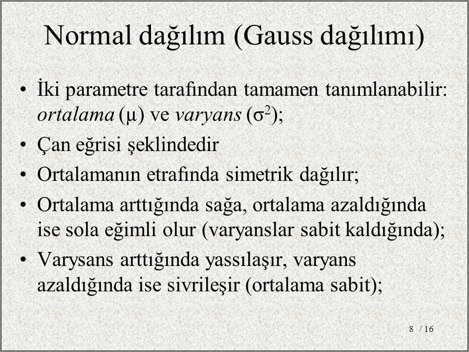 Normal Dağılımın Özellikleri Normal dağılımın ortalaması ve ortancası eşittir; Ortalaması µ ve varyansı σ 2 olan normal dağılıma sahip bir x rastgele değişkeni için olasılıklar aşağıdaki gibidir: –(µ - σ) ile (µ + σ) arasında olma olasılığı 0,68 –(µ - 1,96σ) ile (µ + 1,96σ) arasında olma olasılığı 0,95 –(µ - 2,58σ) ile (µ + 2,58σ) arasında olma olasılığı 0,99 / 169