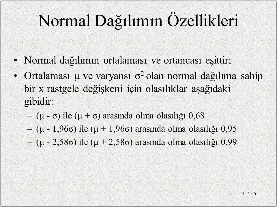 Normal Dağılımın Özellikleri Normal dağılımın ortalaması ve ortancası eşittir; Ortalaması µ ve varyansı σ 2 olan normal dağılıma sahip bir x rastgele