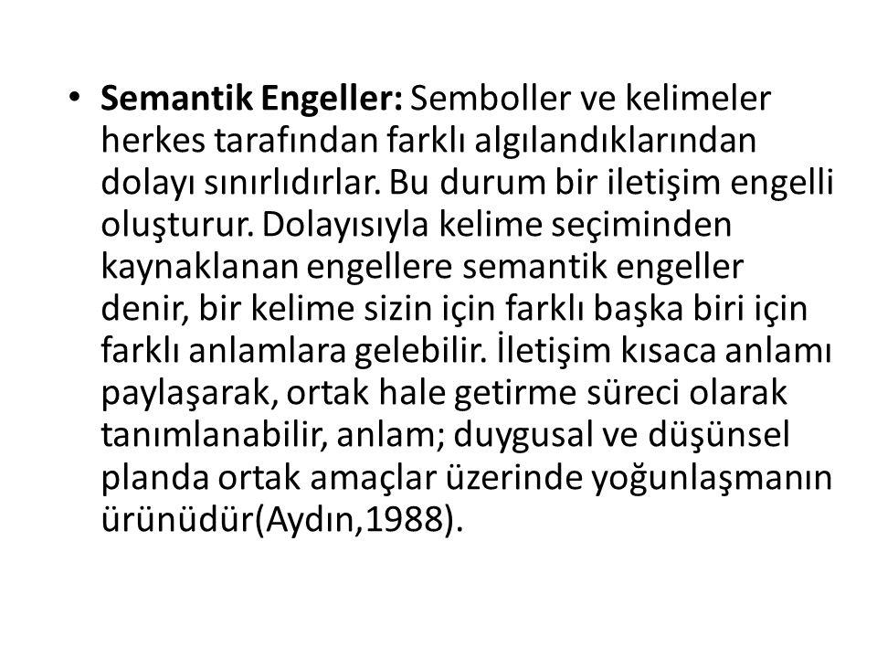 Semantik Engeller: Semboller ve kelimeler herkes tarafından farklı algılandıklarından dolayı sınırlıdırlar. Bu durum bir iletişim engelli oluşturur. D