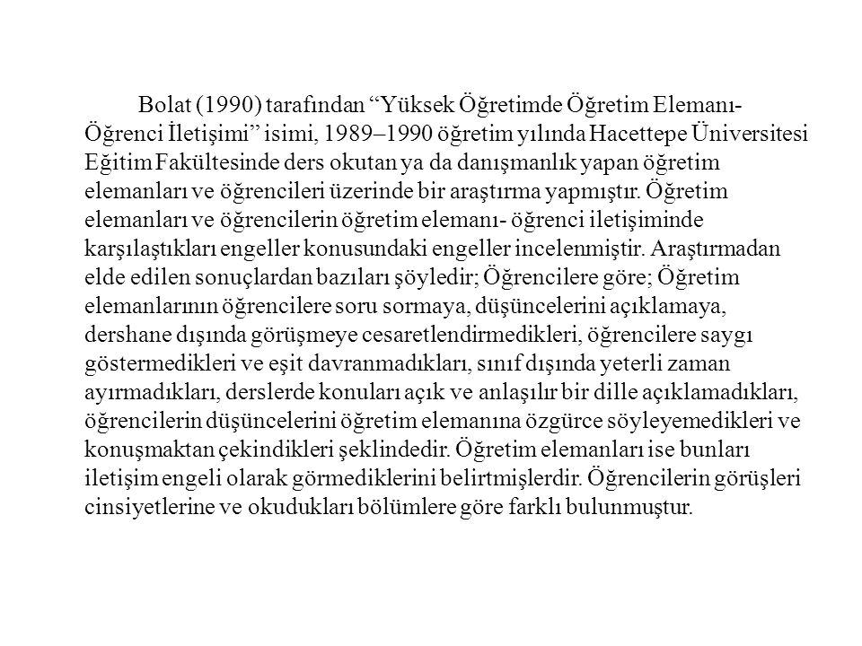 """Bolat (1990) tarafından """"Yüksek Öğretimde Öğretim Elemanı- Öğrenci İletişimi"""" isimi, 1989–1990 öğretim yılında Hacettepe Üniversitesi Eğitim Fakültesi"""