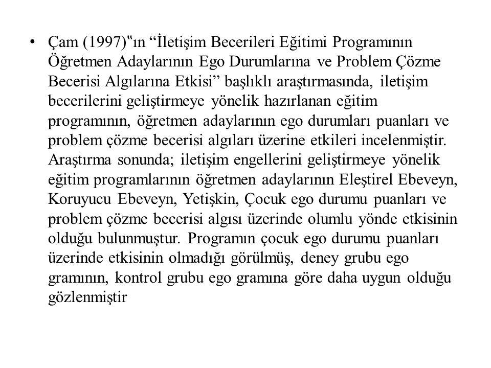 """Çam (1997) """" ın """"İletişim Becerileri Eğitimi Programının Öğretmen Adaylarının Ego Durumlarına ve Problem Çözme Becerisi Algılarına Etkisi"""" başlıklı ar"""