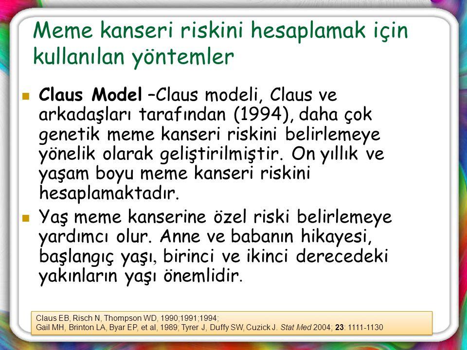 Meme kanseri riskini hesaplamak için kullanılan yöntemler Claus Model –Claus modeli, Claus ve arkadaşları tarafından (1994), daha çok genetik meme kan