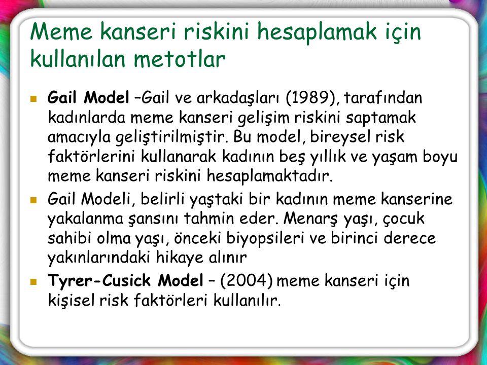 Meme kanseri riskini hesaplamak için kullanılan metotlar Gail Model –Gail ve arkadaşları (1989), tarafından kadınlarda meme kanseri gelişim riskini sa