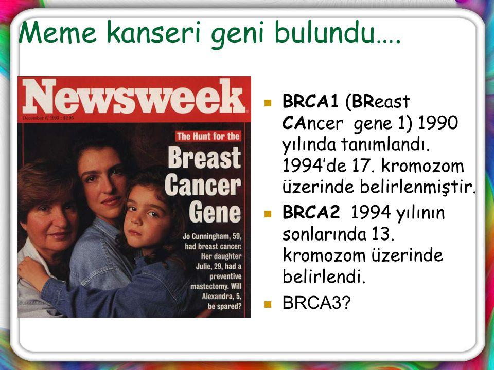 Meme kanseri geni bulundu…. BRCA1 (BReast CAncer gene 1) 1990 yılında tanımlandı. 1994'de 17. kromozom üzerinde belirlenmiştir. BRCA2 1994 yılının son