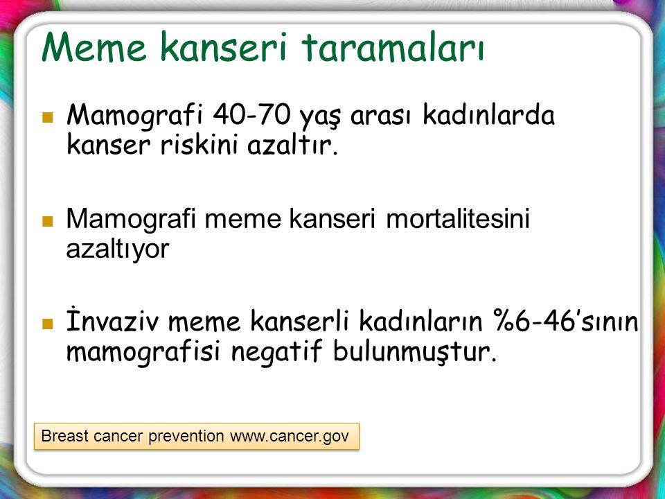 Meme kanseri taramaları Mamografi 40-70 yaş arası kadınlarda kanser riskini azaltır. Mamografi meme kanseri mortalitesini azaltıyor İnvaziv meme kanse
