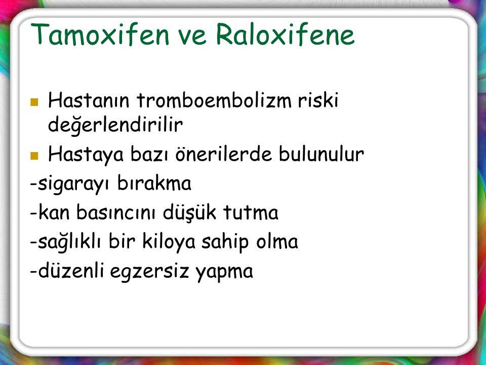 Tamoxifen ve Raloxifene Hastanın tromboembolizm riski değerlendirilir Hastaya bazı önerilerde bulunulur -sigarayı bırakma -kan basıncını düşük tutma -