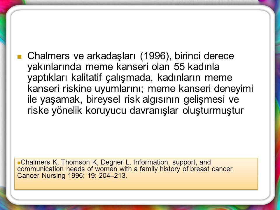 Chalmers ve arkadaşları (1996), birinci derece yakınlarında meme kanseri olan 55 kadınla yaptıkları kalitatif çalışmada, kadınların meme kanseri riski