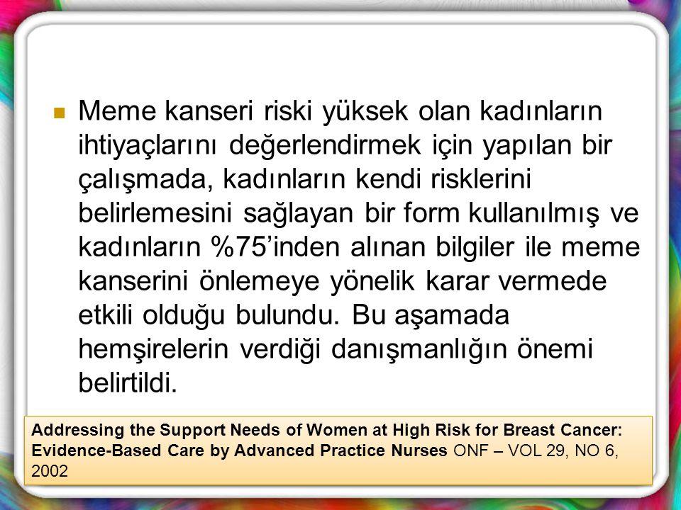 Meme kanseri riski yüksek olan kadınların ihtiyaçlarını değerlendirmek için yapılan bir çalışmada, kadınların kendi risklerini belirlemesini sağlayan