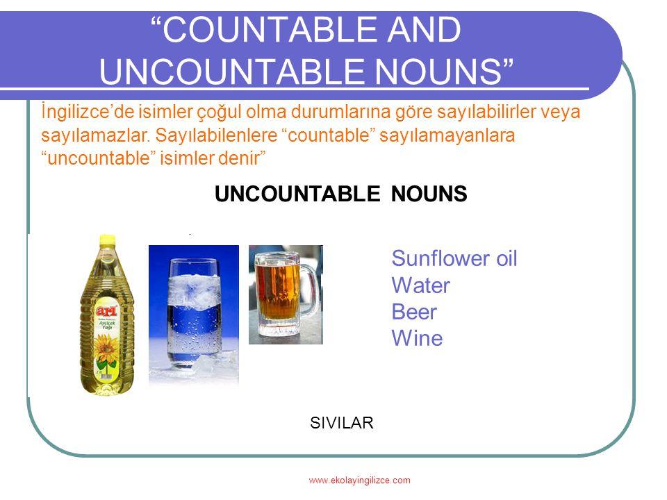 www.ekolayingilizce.com COUNTABLE AND UNCOUNTABLE NOUNS İngilizce'de isimler çoğul olma durumlarına göre sayılabilirler veya sayılamazlar.