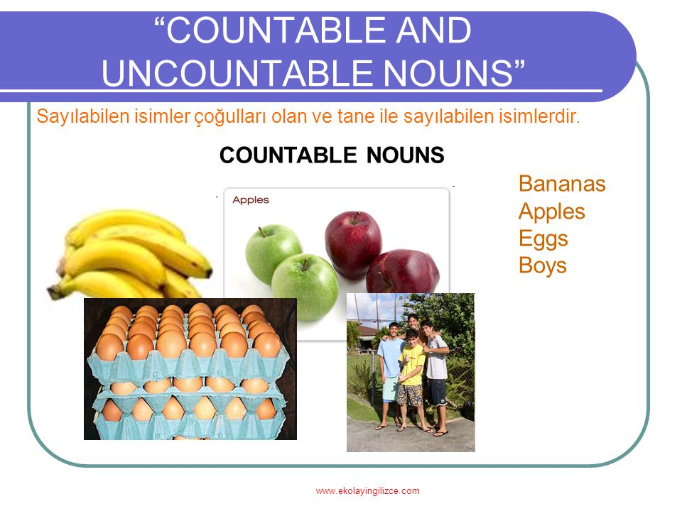 www.ekolayingilizce.com COUNTABLE AND UNCOUNTABLE NOUNS UNCOUNTABLE NOUNSCOUNTABLE NOUNS One bananaTwo bananas An appleSome apples One eggAny eggs (-) There is an egg.
