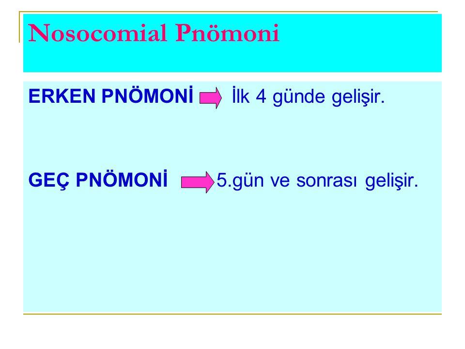 Nosocomial Pnömoni ERKEN PNÖMONİ İlk 4 günde gelişir. GEÇ PNÖMONİ 5.gün ve sonrası gelişir.