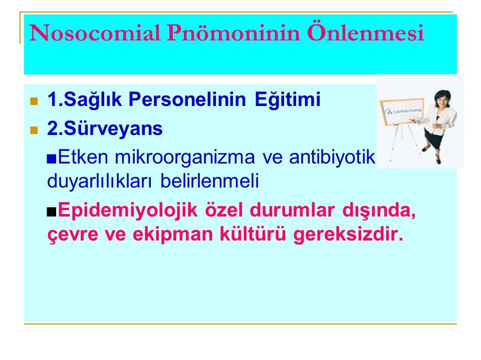 Nosocomial Pnömoninin Önlenmesi 1.Sağlık Personelinin Eğitimi 2.Sürveyans ■Etken mikroorganizma ve antibiyotik duyarlılıkları belirlenmeli ■Epidemiyol