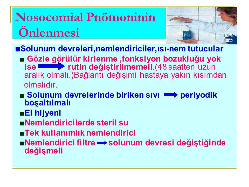 Nosocomial Pnömoninin Önlenmesi ■ Solunum devreleri,nemlendiriciler,ısı-nem tutucular ■ Gözle görülür kirlenme,fonksiyon bozukluğu yok ise rutin değiş