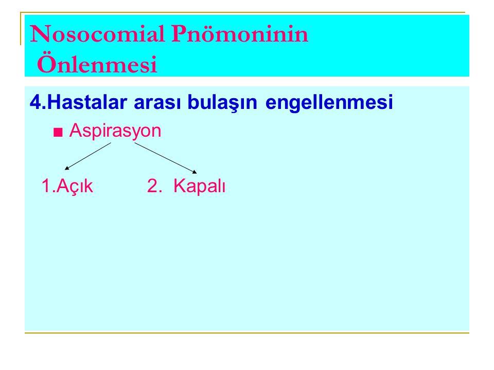 Nosocomial Pnömoninin Önlenmesi 4.Hastalar arası bulaşın engellenmesi ■ Aspirasyon 1.Açık 2. Kapalı