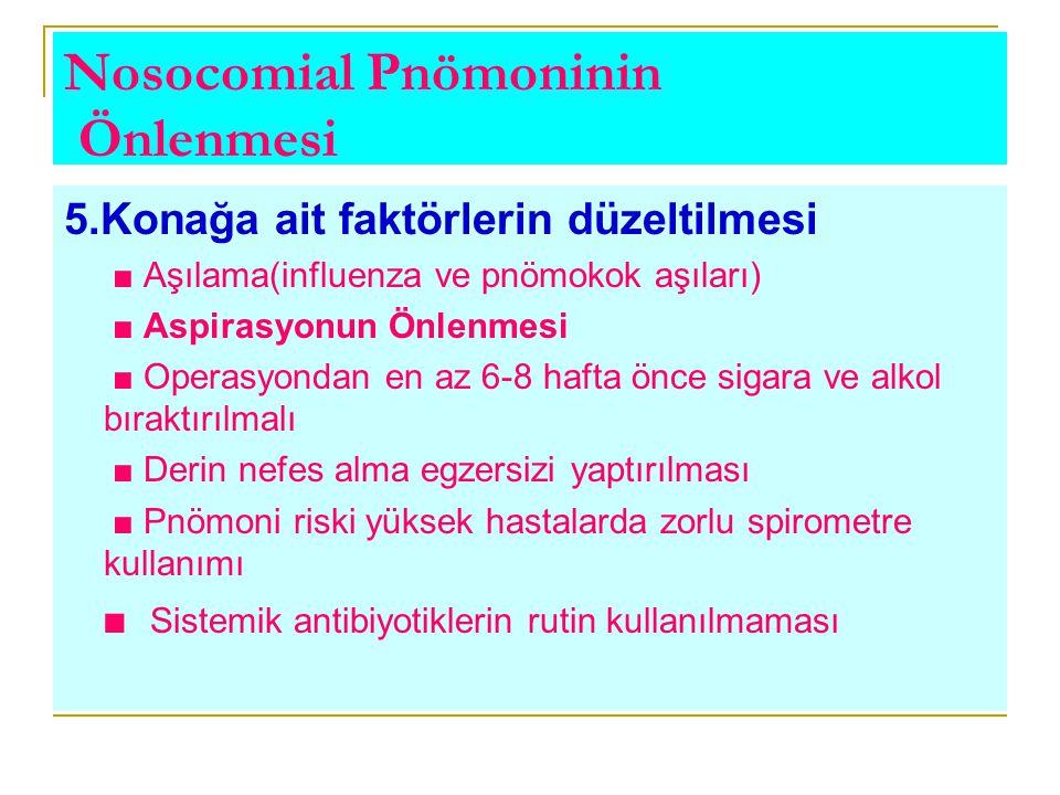 Nosocomial Pnömoninin Önlenmesi 5.Konağa ait faktörlerin düzeltilmesi ■ Aşılama(influenza ve pnömokok aşıları) ■ Aspirasyonun Önlenmesi ■ Operasyondan