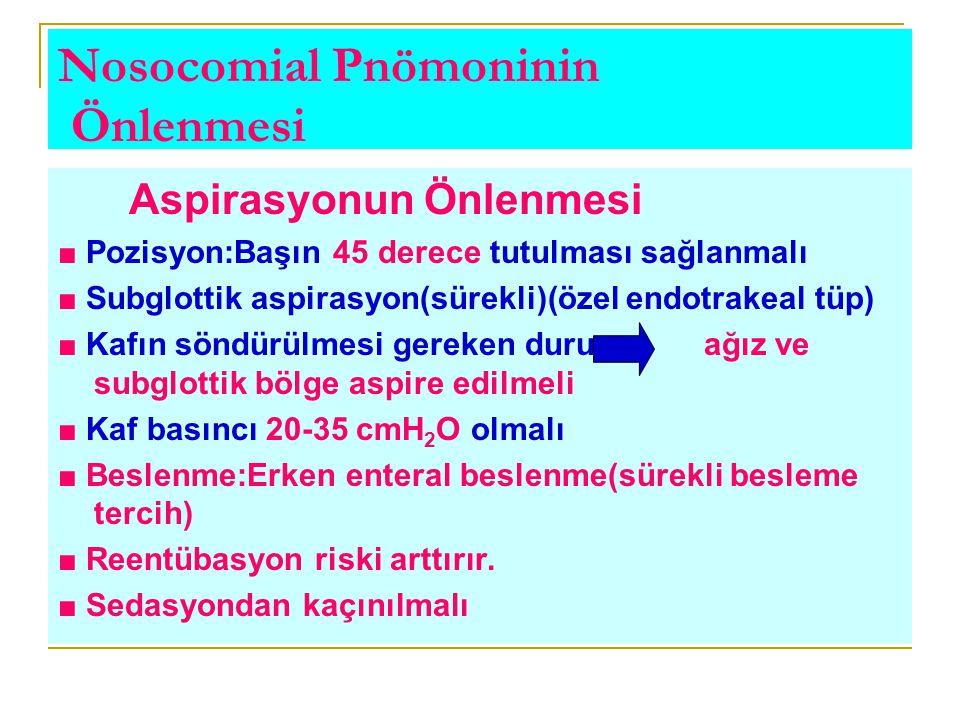 Nosocomial Pnömoninin Önlenmesi Aspirasyonun Önlenmesi ■ Pozisyon:Başın 45 derece tutulması sağlanmalı ■ Subglottik aspirasyon(sürekli)(özel endotrake