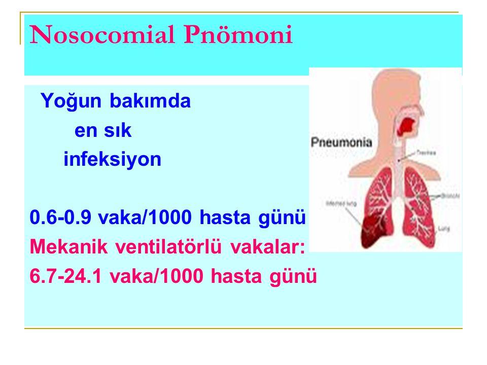 Yoğun bakımda en sık infeksiyon 0.6-0.9 vaka/1000 hasta günü Mekanik ventilatörlü vakalar: 6.7-24.1 vaka/1000 hasta günü