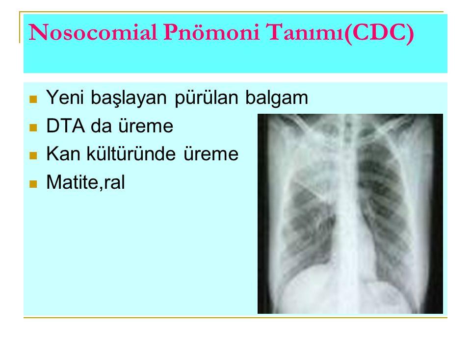 Nosocomial Pnömoni Tanımı(CDC) Yeni başlayan pürülan balgam DTA da üreme Kan kültüründe üreme Matite,ral