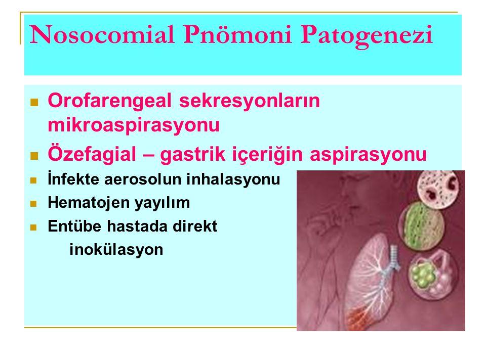 Nosocomial Pnömoni Patogenezi Orofarengeal sekresyonların mikroaspirasyonu Özefagial – gastrik içeriğin aspirasyonu İnfekte aerosolun inhalasyonu Hema
