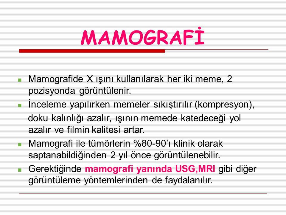 MAMOGRAFİ Mamografide X ışını kullanılarak her iki meme, 2 pozisyonda görüntülenir.