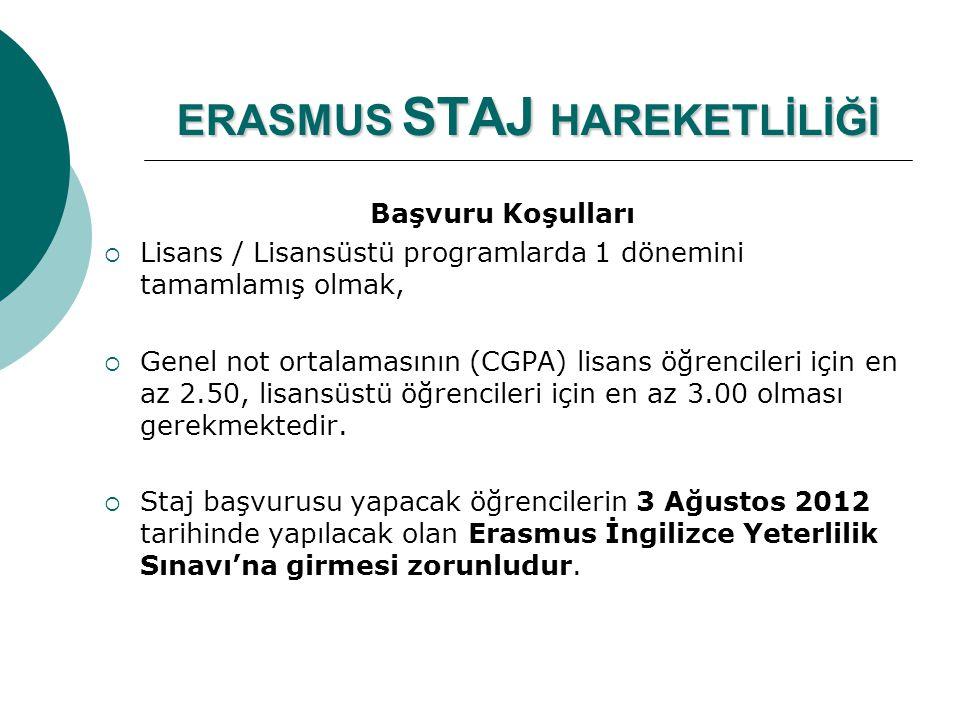 ERASMUS STAJ HAREKETLİLİĞİ Başvuru Koşulları  Lisans / Lisansüstü programlarda 1 dönemini tamamlamış olmak,  Genel not ortalamasının (CGPA) lisans ö
