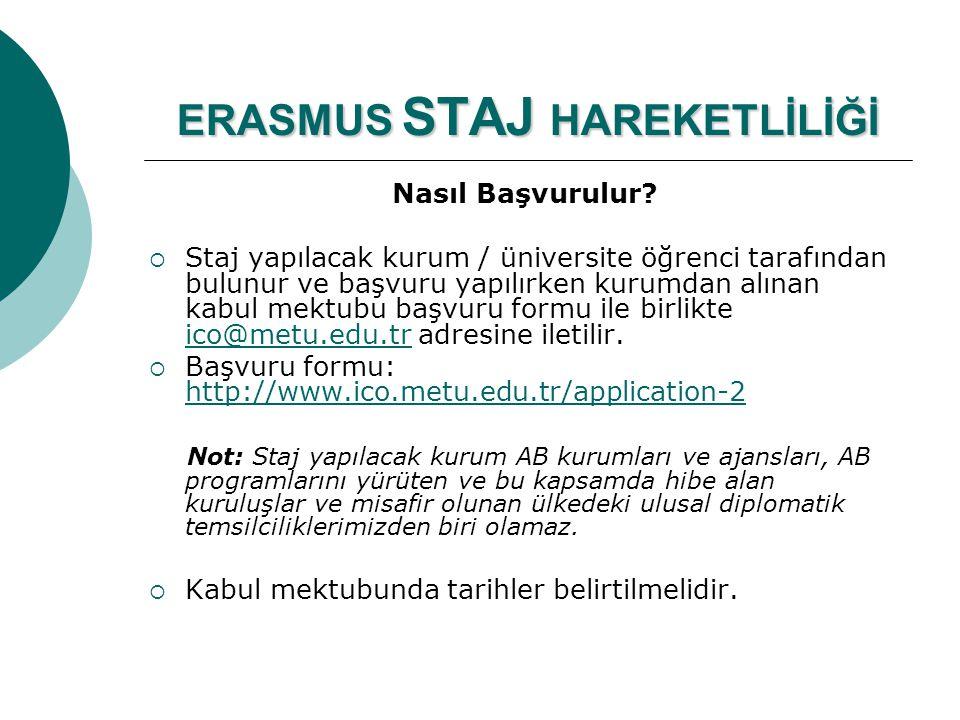 ERASMUS STAJ HAREKETLİLİĞİ Nasıl Başvurulur?  Staj yapılacak kurum / üniversite öğrenci tarafından bulunur ve başvuru yapılırken kurumdan alınan kabu