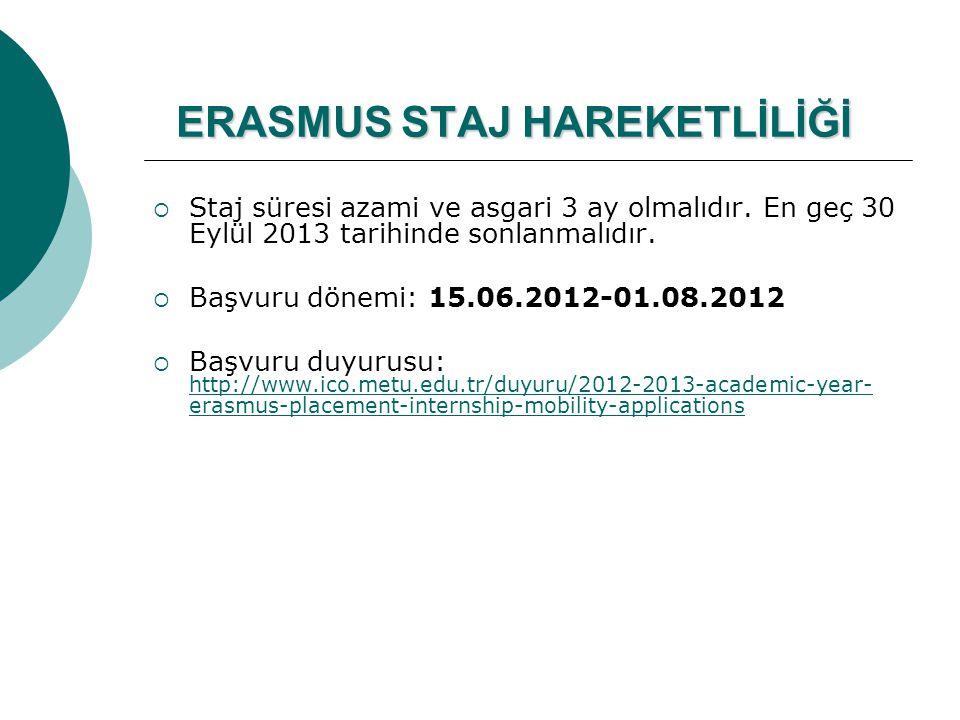 ERASMUS STAJ HAREKETLİLİĞİ  Staj süresi azami ve asgari 3 ay olmalıdır. En geç 30 Eylül 2013 tarihinde sonlanmalıdır.  Başvuru dönemi: 15.06.2012-01