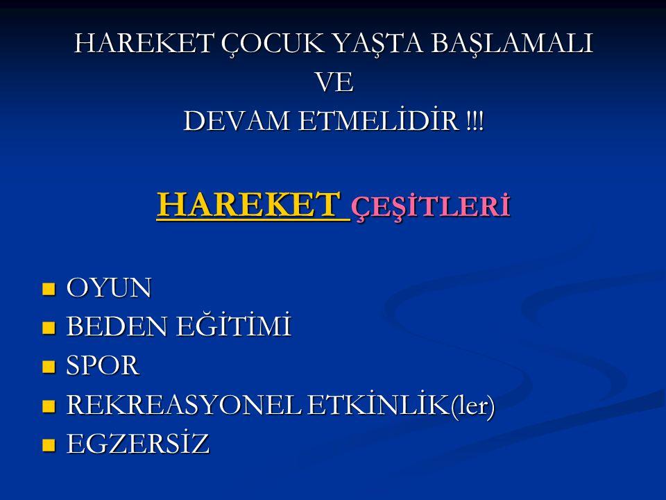 HAREKET ÇOCUK YAŞTA BAŞLAMALI VE DEVAM ETMELİDİR !!.