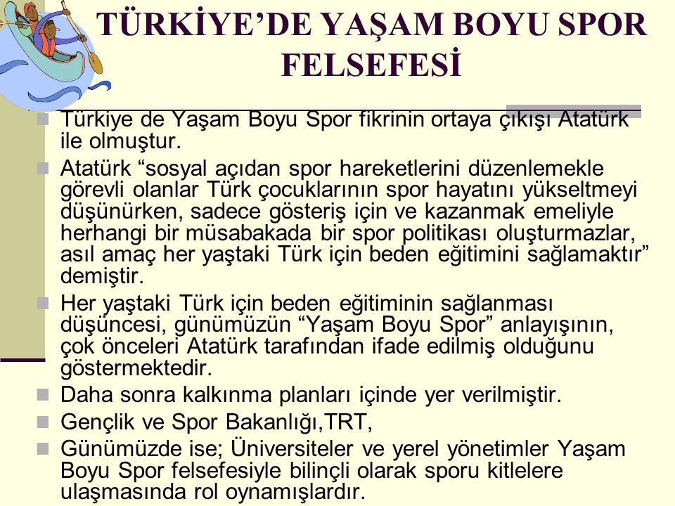 """TÜRKİYE'DE YAŞAM BOYU SPOR FELSEFESİ Türkiye de Yaşam Boyu Spor fikrinin ortaya çıkışı Atatürk ile olmuştur. Atatürk """"sosyal açıdan spor hareketlerini"""