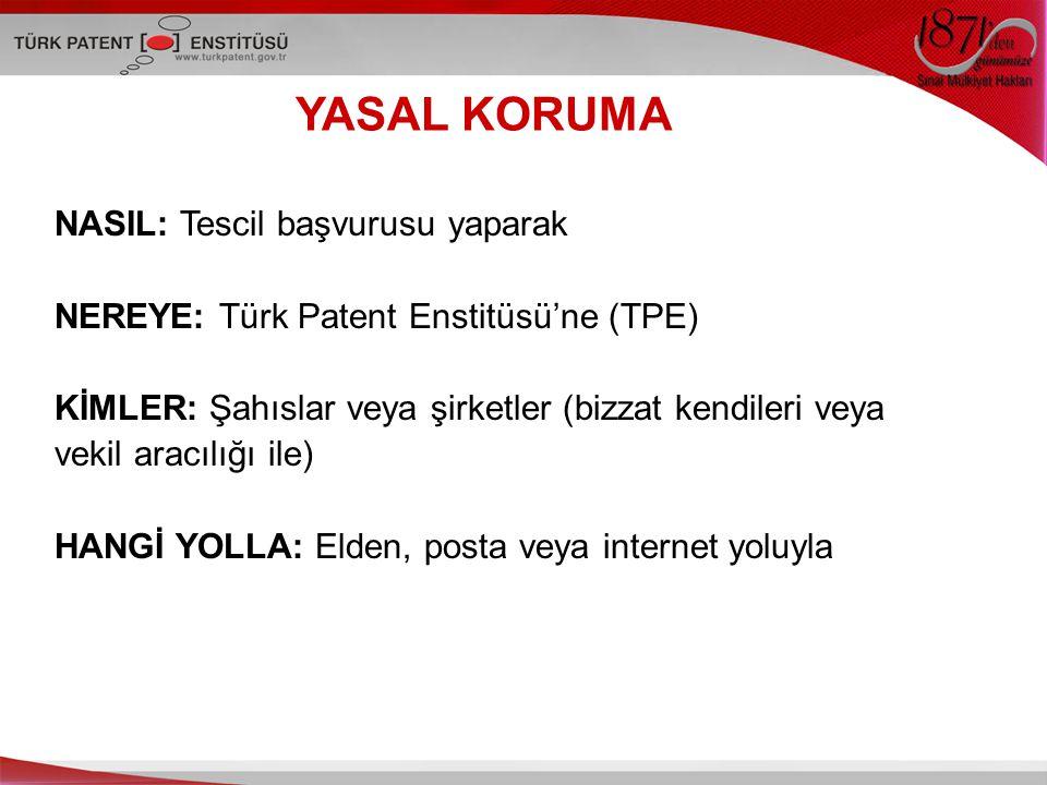 YASAL KORUMA NASIL: Tescil başvurusu yaparak NEREYE: Türk Patent Enstitüsü'ne (TPE) KİMLER: Şahıslar veya şirketler (bizzat kendileri veya vekil aracılığı ile) HANGİ YOLLA: Elden, posta veya internet yoluyla