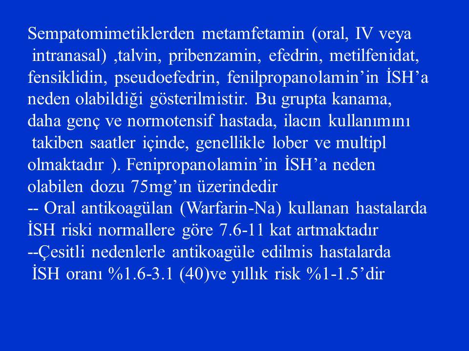 Sempatomimetiklerden metamfetamin (oral, IV veya intranasal),talvin, pribenzamin, efedrin, metilfenidat, fensiklidin, pseudoefedrin, fenilpropanolamin