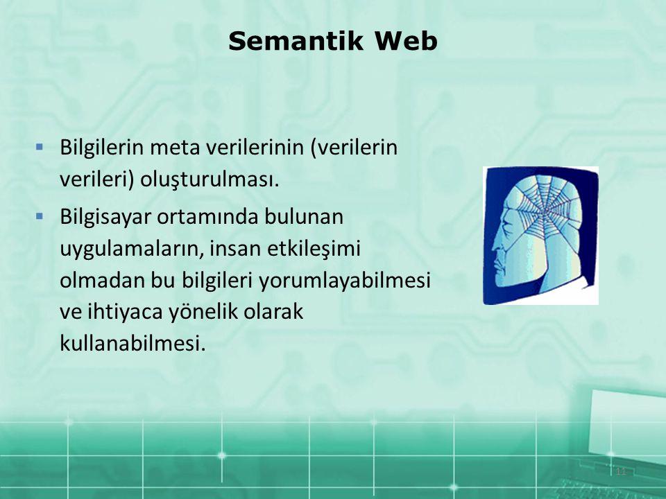 11 Semantik Web  Bilgilerin meta verilerinin (verilerin verileri) oluşturulması.