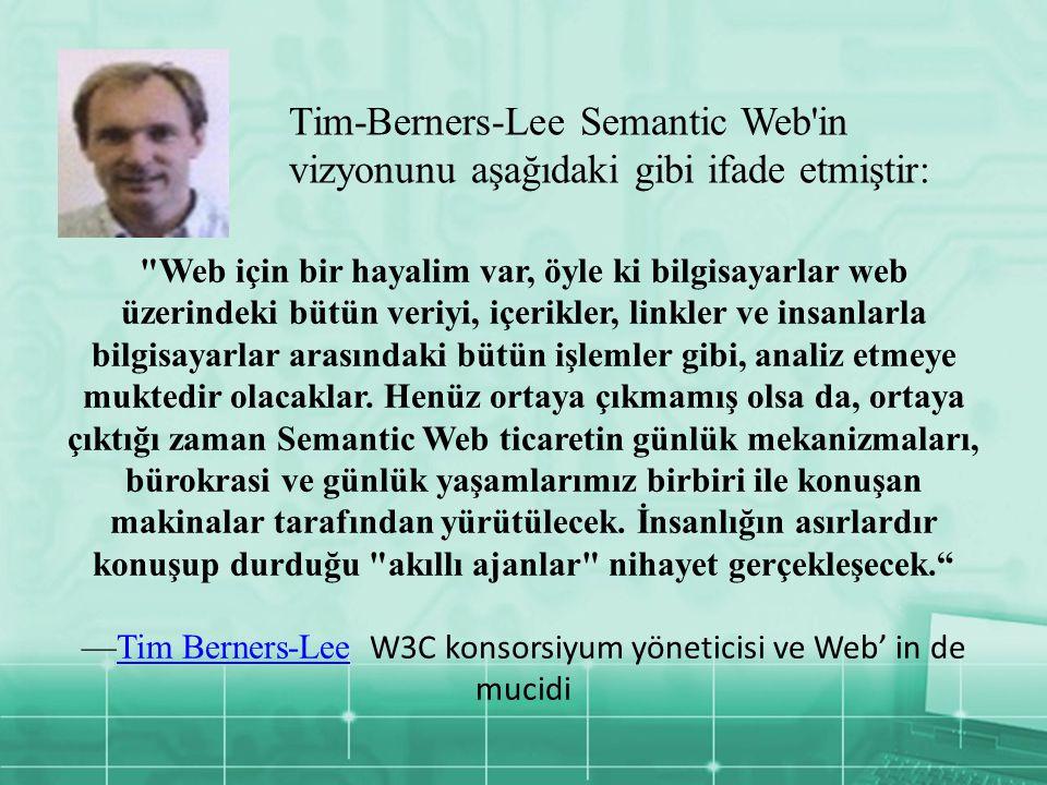 Web için bir hayalim var, öyle ki bilgisayarlar web üzerindeki bütün veriyi, içerikler, linkler ve insanlarla bilgisayarlar arasındaki bütün işlemler gibi, analiz etmeye muktedir olacaklar.