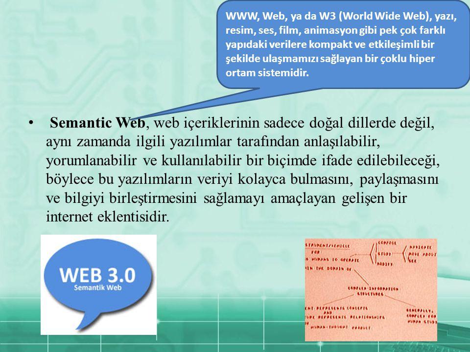 Semantic Web, web içeriklerinin sadece doğal dillerde değil, aynı zamanda ilgili yazılımlar tarafından anlaşılabilir, yorumlanabilir ve kullanılabilir bir biçimde ifade edilebileceği, böylece bu yazılımların veriyi kolayca bulmasını, paylaşmasını ve bilgiyi birleştirmesini sağlamayı amaçlayan gelişen bir internet eklentisidir.