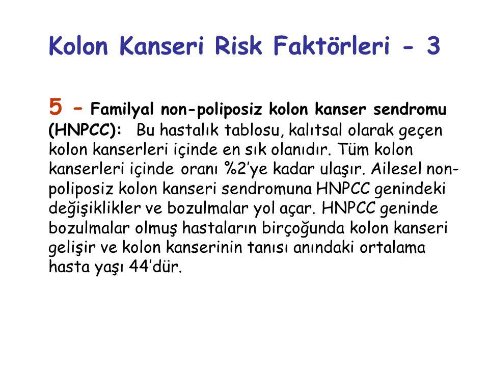 Kolon Kanseri Risk Faktörleri - 3 5 - Familyal non-poliposiz kolon kanser sendromu (HNPCC): Bu hastalık tablosu, kalıtsal olarak geçen kolon kanserler