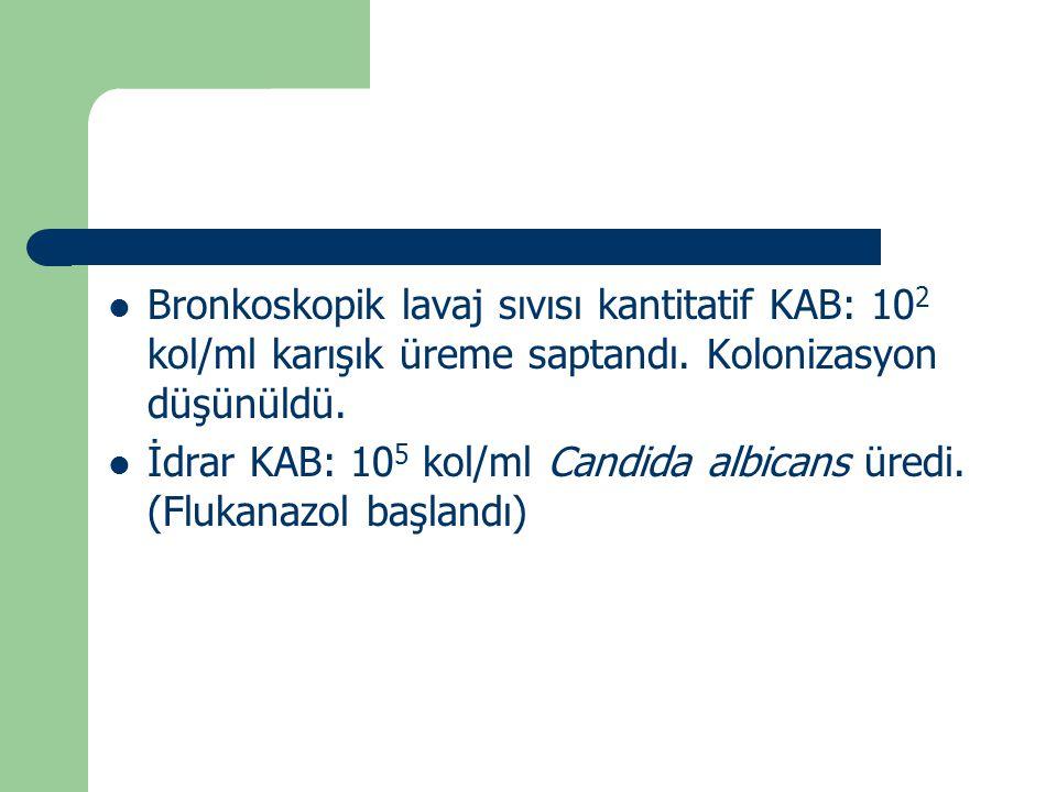 Bronkoskopik lavaj sıvısı kantitatif KAB: 10 2 kol/ml karışık üreme saptandı. Kolonizasyon düşünüldü. İdrar KAB: 10 5 kol/ml Candida albicans üredi. (