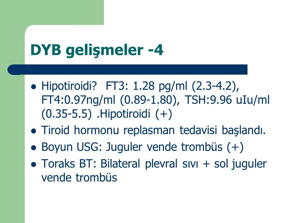 DYB gelişmeler -4 Hipotiroidi? FT3: 1.28 pg/ml (2.3-4.2), FT4:0.97ng/ml (0.89-1.80), TSH:9.96 uIu/ml (0.35-5.5).Hipotiroidi (+) Tiroid hormonu replasm