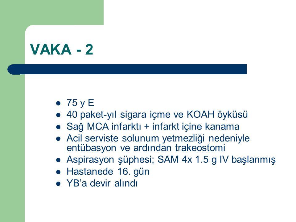 VAKA - 2 75 y E 40 paket-yıl sigara içme ve KOAH öyküsü Sağ MCA infarktı + infarkt içine kanama Acil serviste solunum yetmezliği nedeniyle entübasyon