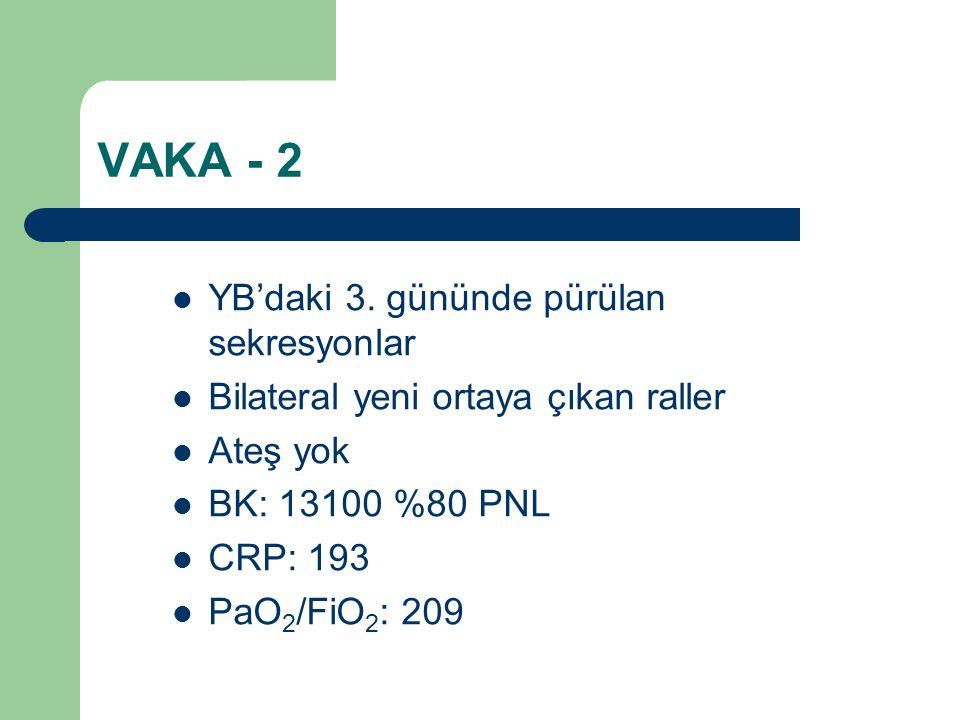 VAKA - 2 YB'daki 3. gününde pürülan sekresyonlar Bilateral yeni ortaya çıkan raller Ateş yok BK: 13100 %80 PNL CRP: 193 PaO 2 /FiO 2 : 209