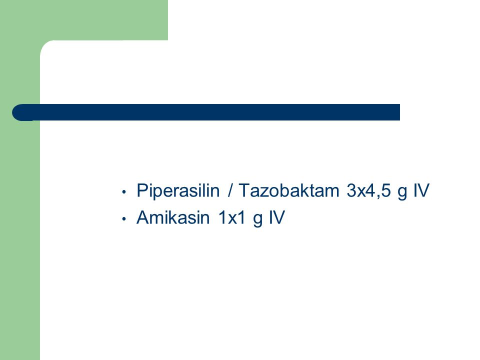 Piperasilin / Tazobaktam 3x4,5 g IV Amikasin 1x1 g IV