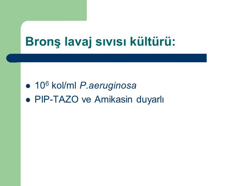 Bronş lavaj sıvısı kültürü: 10 6 kol/ml P.aeruginosa PIP-TAZO ve Amikasin duyarlı