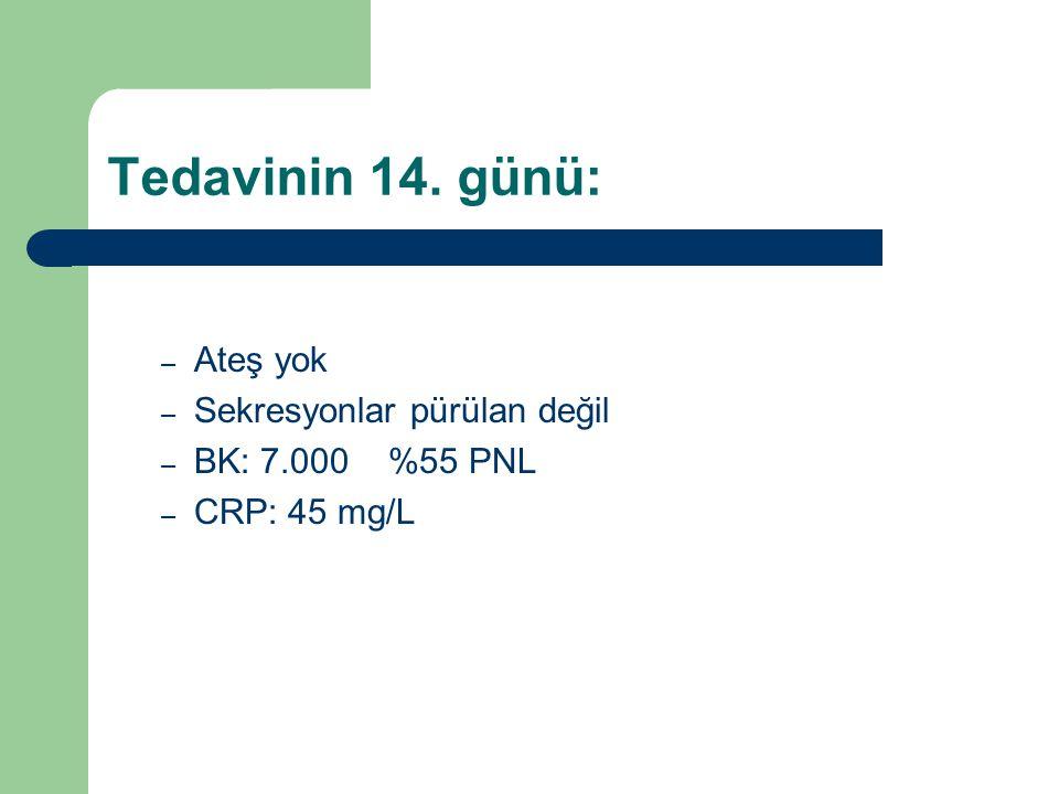 Tedavinin 14. günü: – Ateş yok – Sekresyonlar pürülan değil – BK: 7.000 %55 PNL – CRP: 45 mg/L
