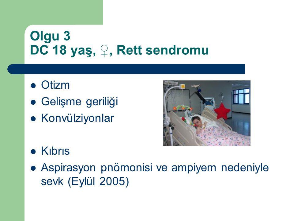Olgu 3 DC 18 yaş, ♀, Rett sendromu Otizm Gelişme geriliği Konvülziyonlar Kıbrıs Aspirasyon pnömonisi ve ampiyem nedeniyle sevk (Eylül 2005)