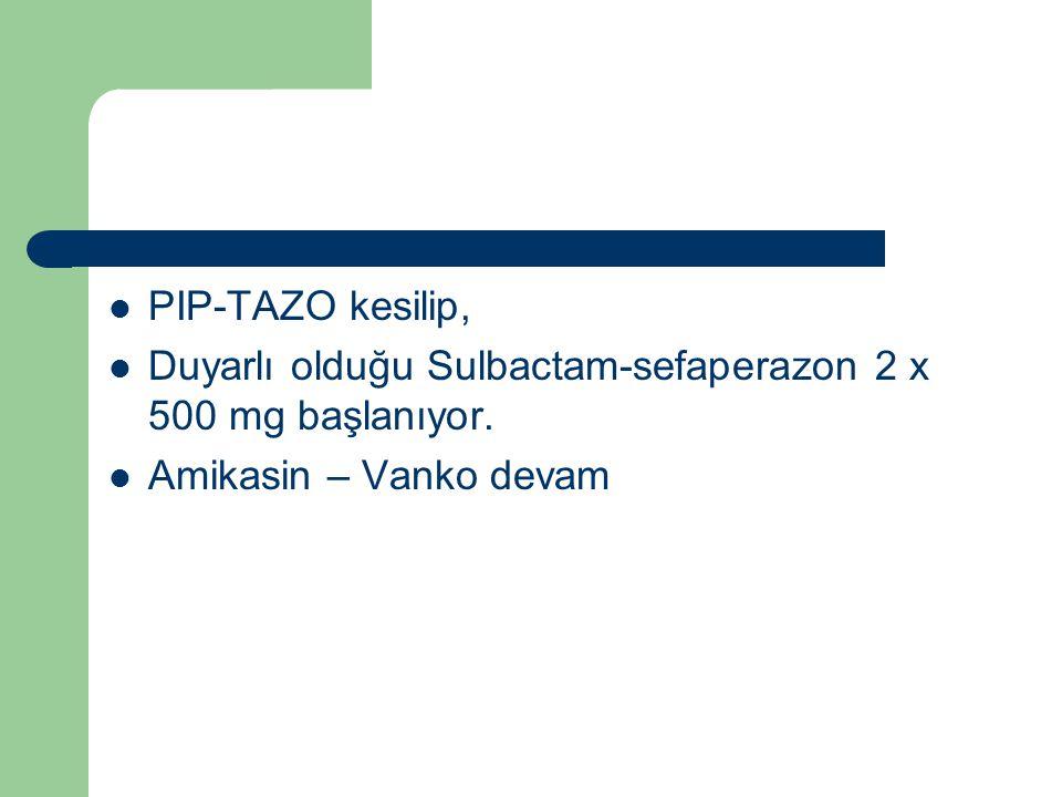 PIP-TAZO kesilip, Duyarlı olduğu Sulbactam-sefaperazon 2 x 500 mg başlanıyor. Amikasin – Vanko devam