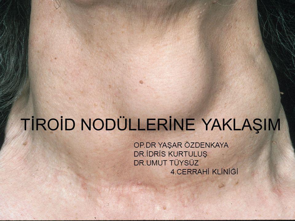 TAKİP VE TEDAVİ Bu arada cerrahi endikasyonlar içinde göz önünde bulundurulması gereken hususlar vardır 1) Nodülün tiroid süpresyonuna rağmen büyümeye devam etmesi; eğer nodül çapı artıyorsa cerrahi tedavi gereklidir (1,2) 1)Journal of Dialog in Endokrinology 2005;2:59 2)N.Engl J med 1993;28: 553-559