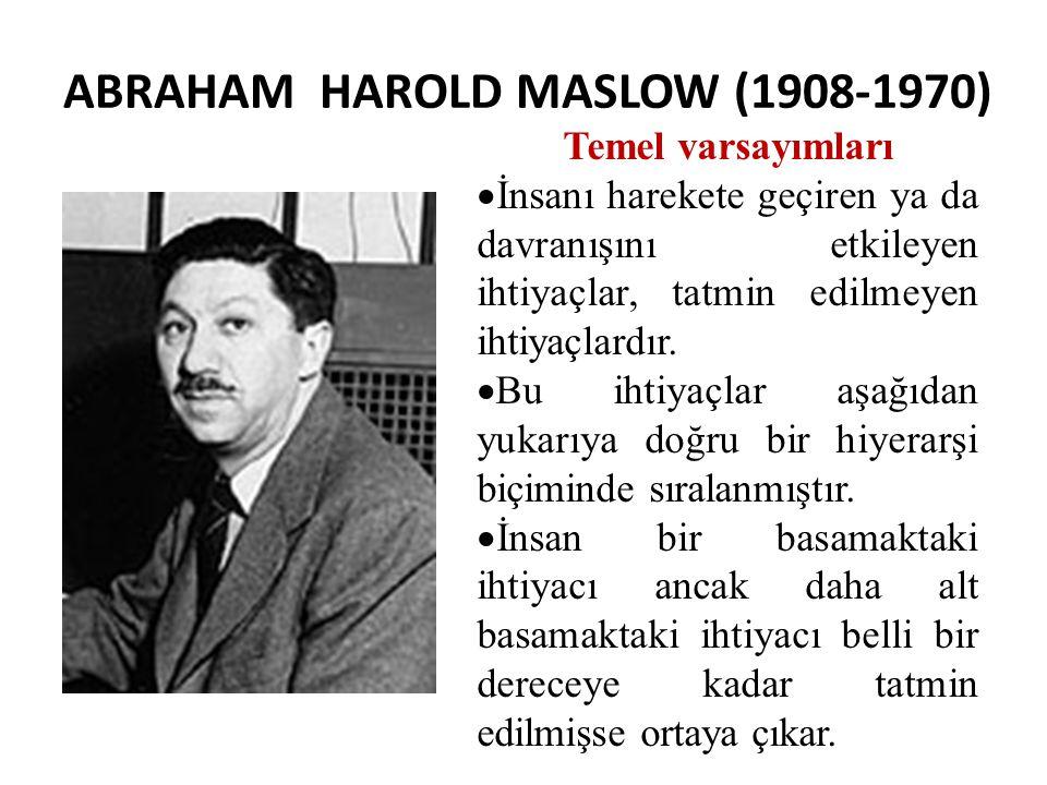ABRAHAM HAROLD MASLOW (1908-1970) Temel varsayımları  İnsanı harekete geçiren ya da davranışını etkileyen ihtiyaçlar, tatmin edilmeyen ihtiyaçlardır.