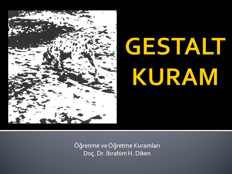  Gestalt hareket: 1912 Almanya, Wertheimer tarafından…  Koffka «Gestalt Psikolojinin İlkeleri»  Gestalt  Almanca bir sözcük…  Biçim, şekil, form, parçaların sadece toplamı değil, entegre olmuş bütün gibi anlamları vardır.