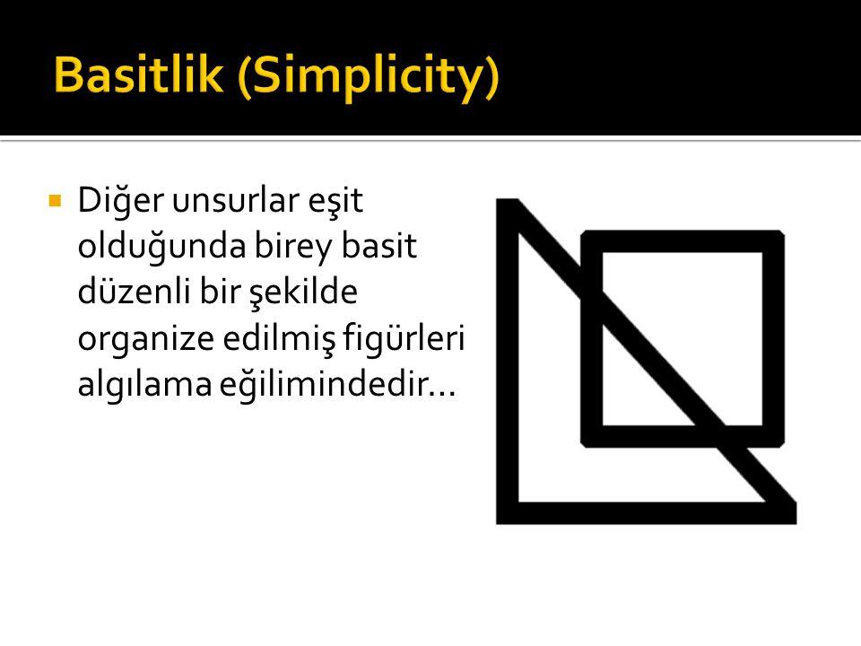 Diğer unsurlar eşit olduğunda birey basit düzenli bir şekilde organize edilmiş figürleri algılama eğilimindedir…