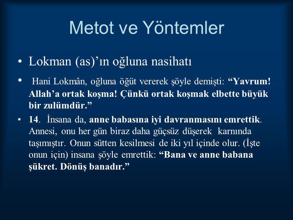 """Metot ve Yöntemler Lokman (as)'ın oğluna nasihatı Hani Lokmân, oğluna öğüt vererek şöyle demişti: """"Yavrum! Allah'a ortak koşma! Çünkü ortak koşmak elb"""