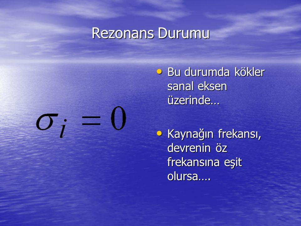 Rezonans Durumu Bu durumda kökler sanal eksen üzerinde… Bu durumda kökler sanal eksen üzerinde… Kaynağın frekansı, devrenin öz frekansına eşit olursa…
